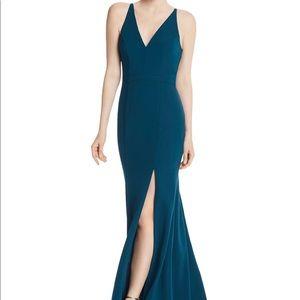 Aqua Crepe Mermaid Evening Gown - blue